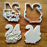 Set of 2 Lettered Number 24 Cookie Cutters/Dishwasher Safe