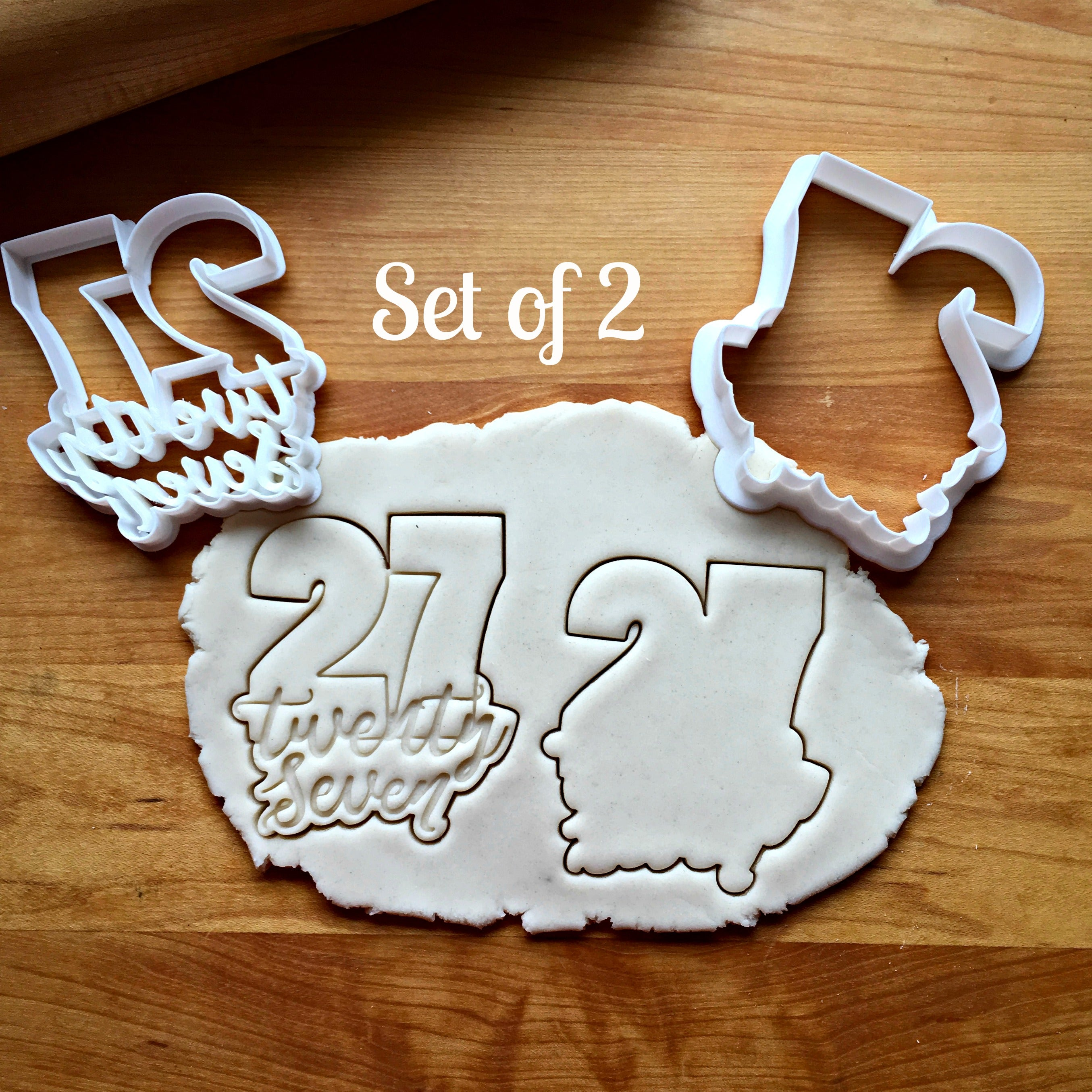 Set of 2 Lettered Number 27 Cookie Cutters/Dishwasher Safe