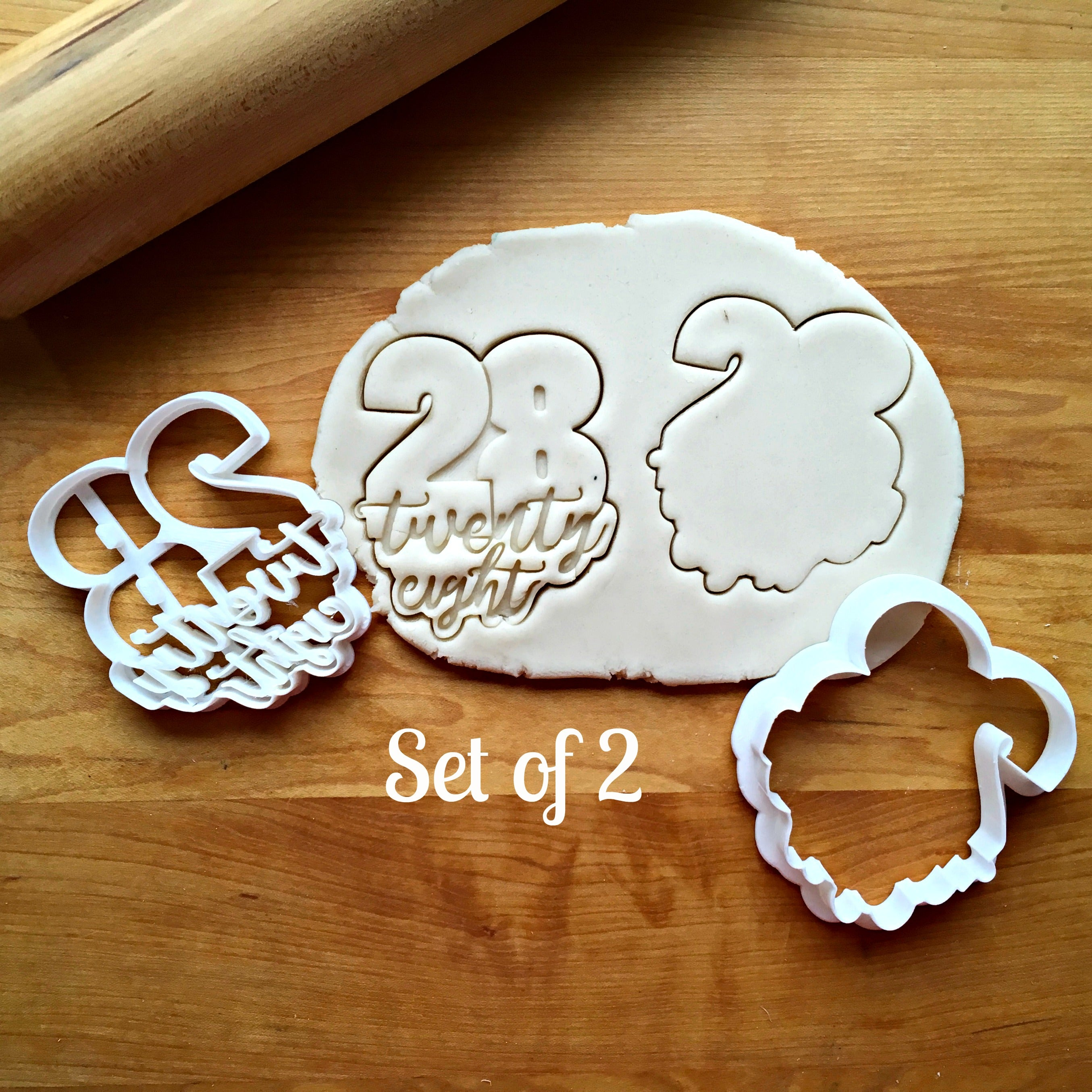 Set of 2 Lettered Number 28 Cookie Cutters/Dishwasher Safe