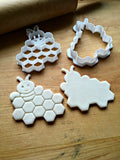 Set of 2 Bee with Honeycomb Sign or Plaque Cookie Cutters/Dishwasher Safe