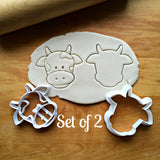 Set of 2 Cow Face Cookie Cutters/Dishwasher Safe