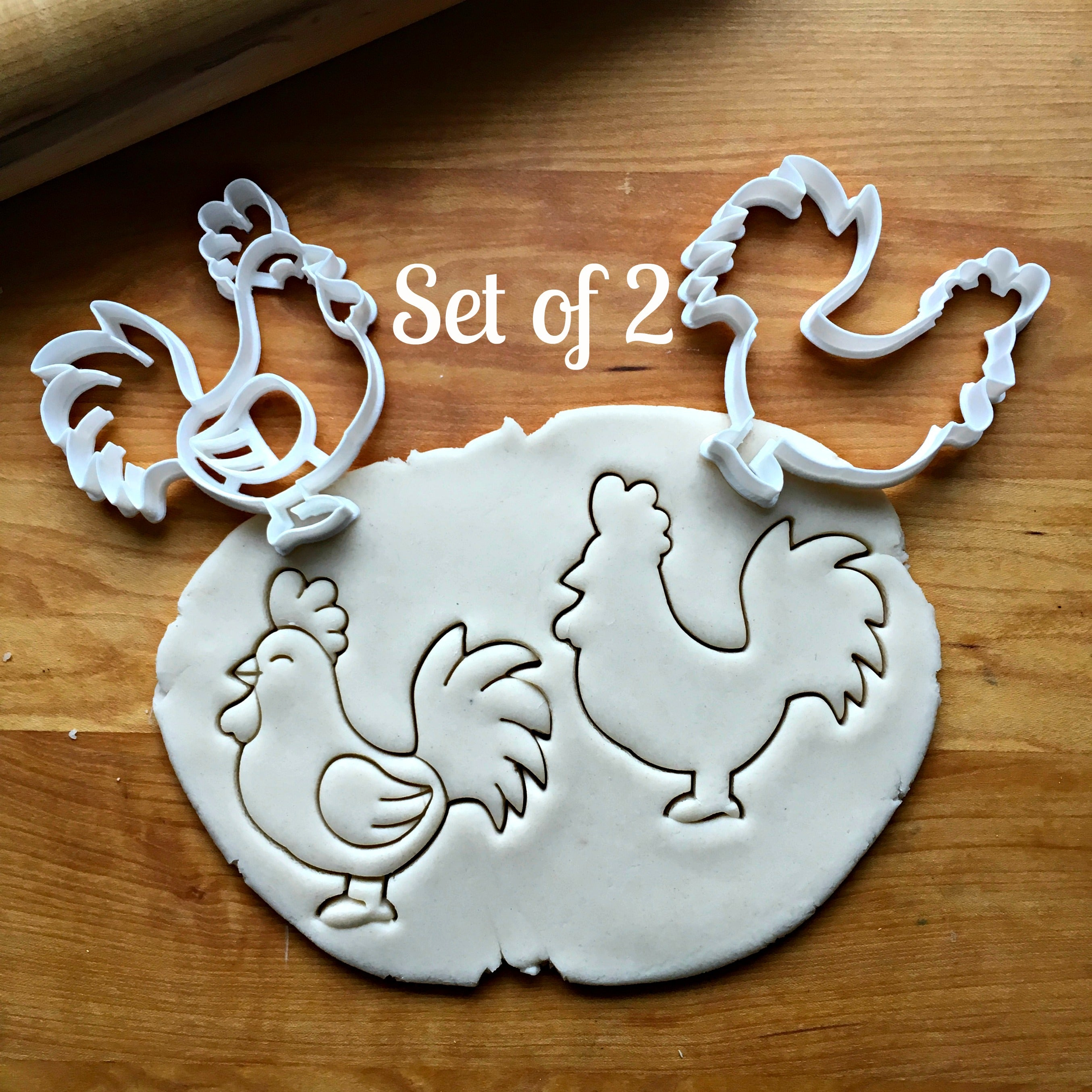 Set of 2 Rooster Cookie Cutters/Dishwasher Safe
