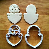 Set of 2 Cupid Heart Frame Cookie Cutters/Dishwasher Safe