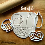 Set of 3 Beer Stein, Pretzel, Mustard Bottle Cookie Cutters/Dishwasher Safe