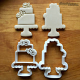 Set of 2 Tiered Cake with Flowers Cookie Cutters/Dishwasher Safe