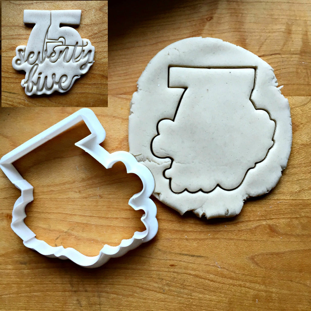Lettered Number 75 Cookie Cutter/Dishwasher Safe