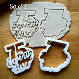 Set of 2 Lettered Number 75 Cookie Cutters/Dishwasher Safe