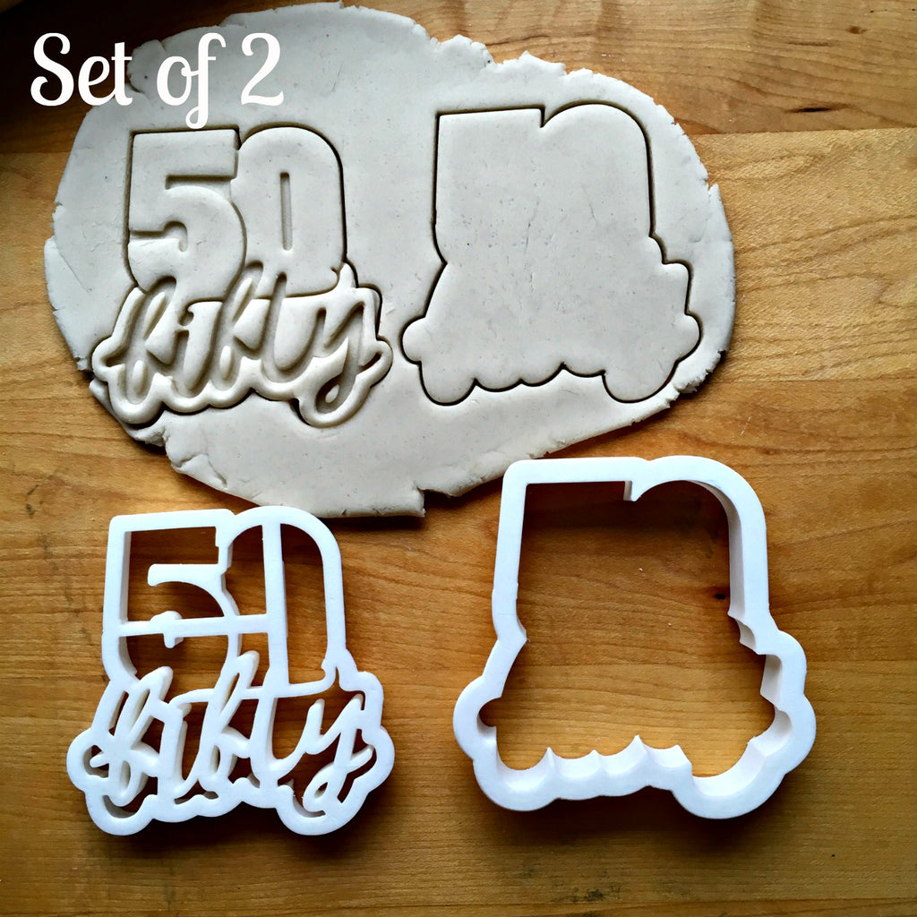 Set of 2 Lettered Number 50 Cookie Cutters/Dishwasher Safe