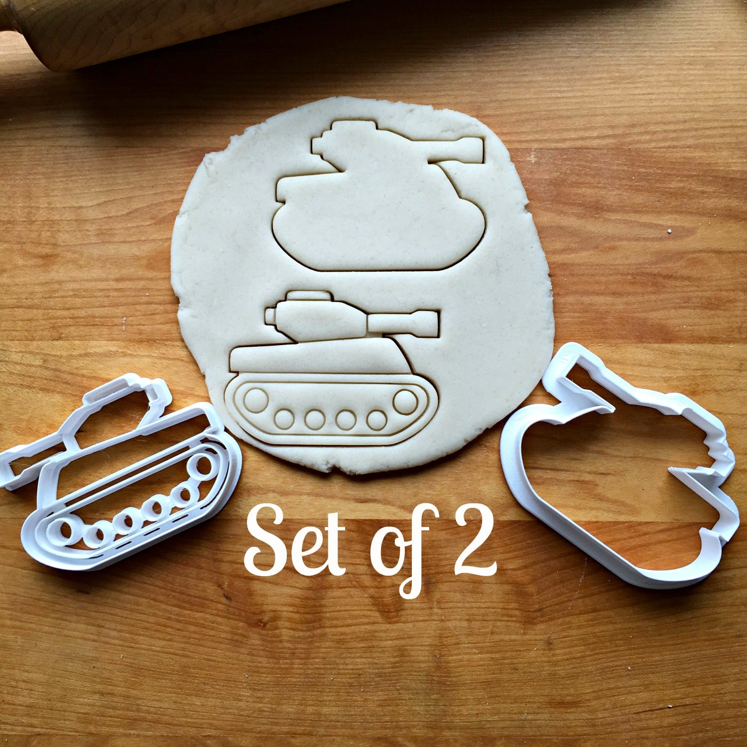 Set of 2 Army Tank Cookie Cutters/Multi-Size/Dishwasher Safe