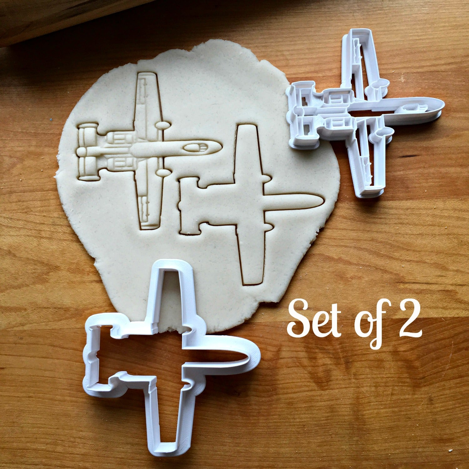 Set of 2 Attack Jet Fighter Cookie Cutters/Multi-Size/Dishwasher Safe