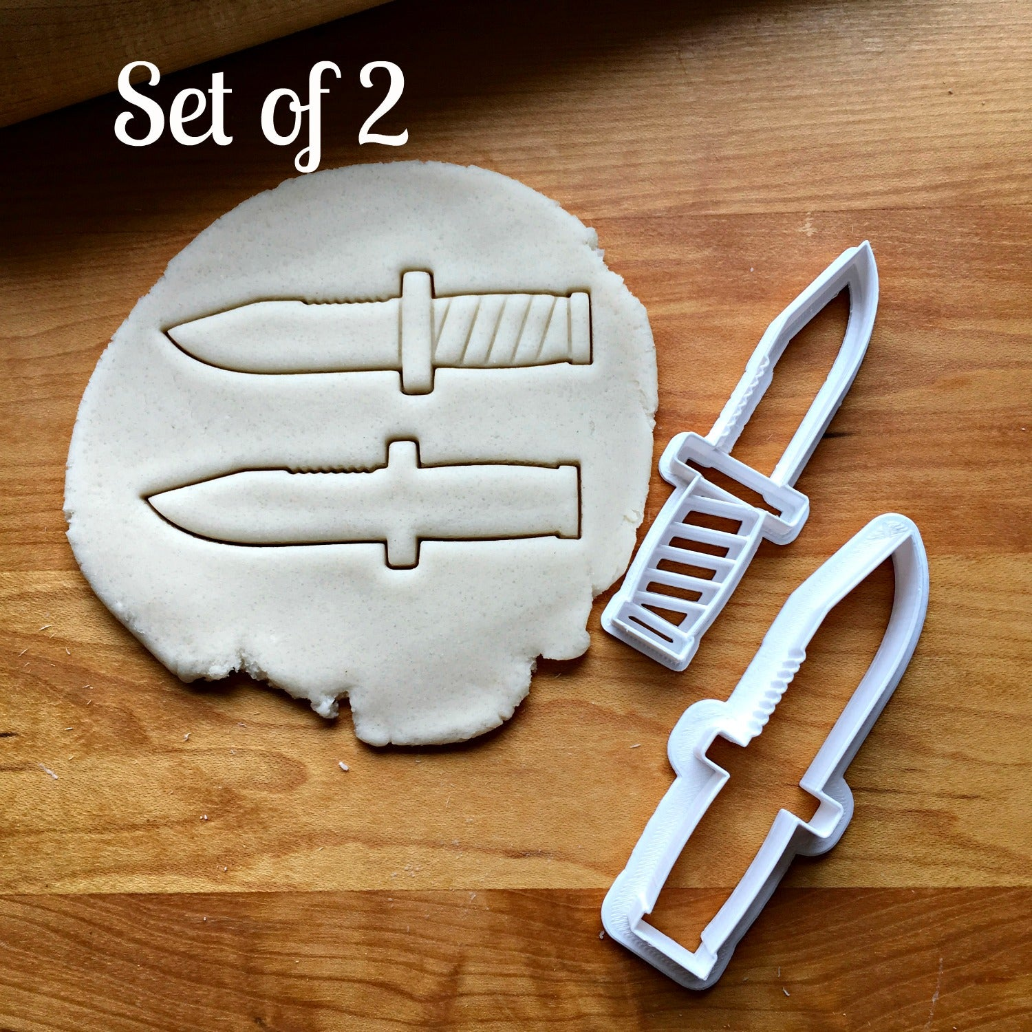 Set of 2 Military Knife Cookie Cutters/Multi-Size/Dishwasher Safe