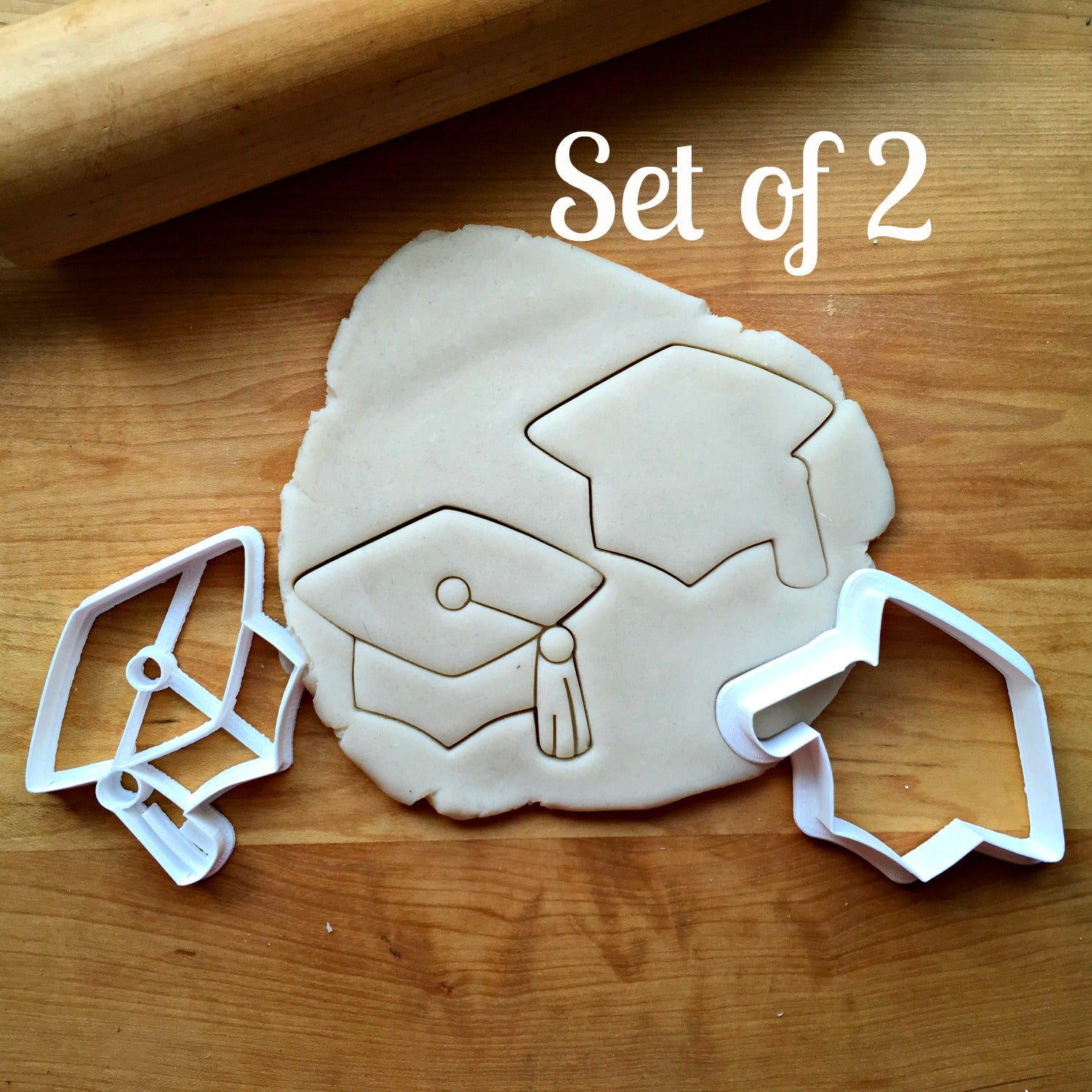 Set of 2 Graduation Cap/Hat Cookie Cutters/Dishwasher Safe