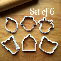 Set of 6 Barn Yard Animal Cookie Cutters/Dishwasher Safe