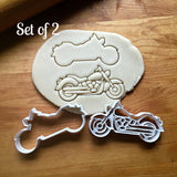 Set of 2 Motorcycle Cookie Cutters/Dishwasher Safe