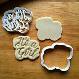 Set of 2 It's A Girl Script Cookie Cutters/Dishwasher Safe