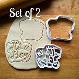 Set of 2 It's A Boy Script Cookie Cutters/Dishwasher Safe