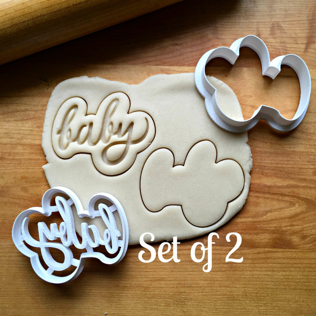 Set of 2 Baby Script Cookie Cutters/Dishwasher Safe
