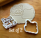 Set of 2 Back to School Script Cookie Cutters/Dishwasher Safe