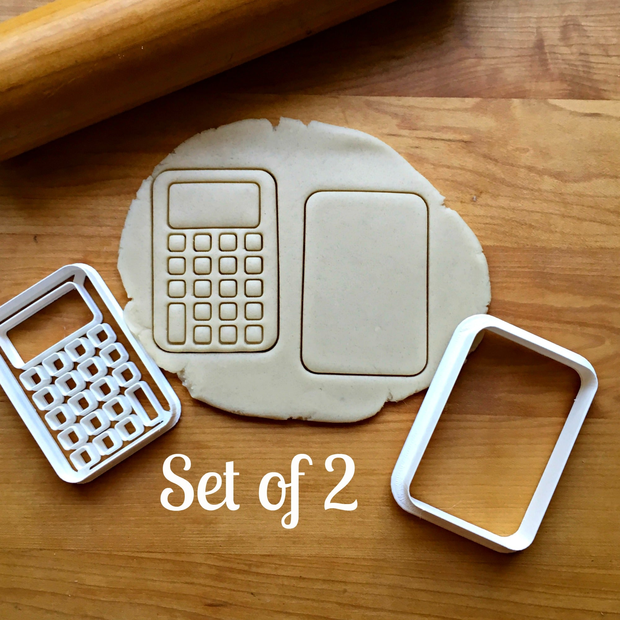 Set of 2 Calculator Cookie Cutters/Dishwasher Safe