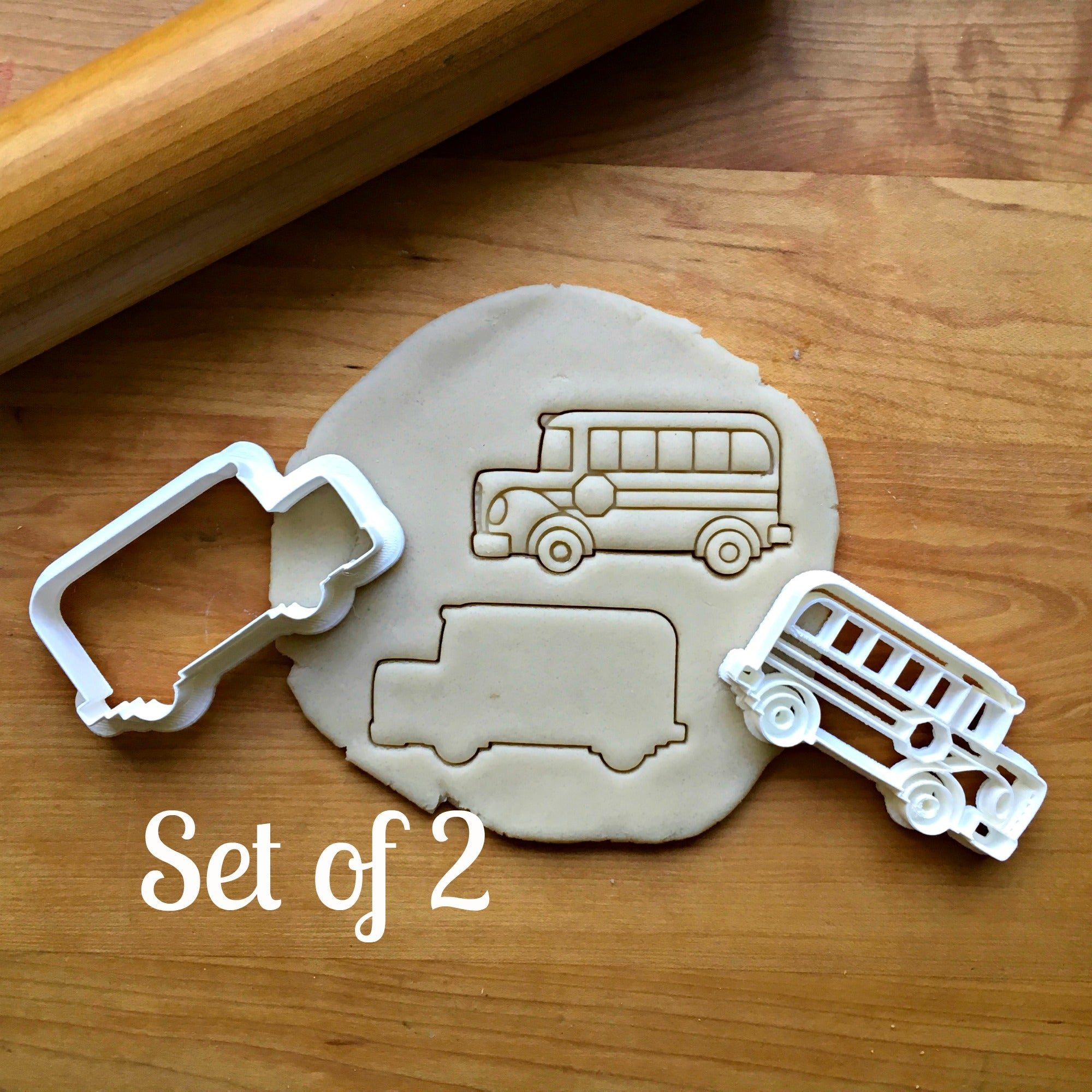 Set of 2 School Bus Cookie Cutters/Dishwasher Safe