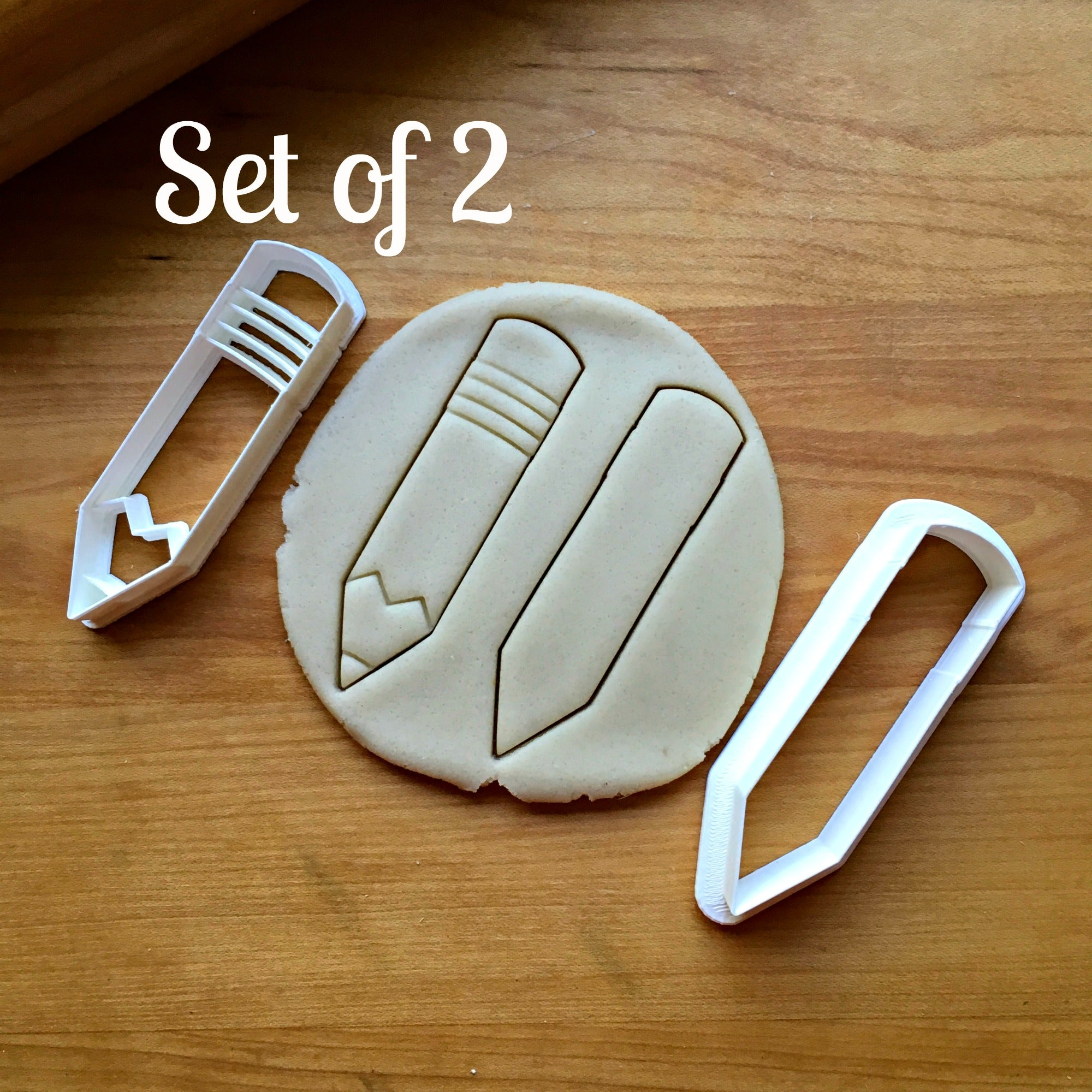Set of 2 Skinny Pencil Cookie Cutters/Dishwasher Safe