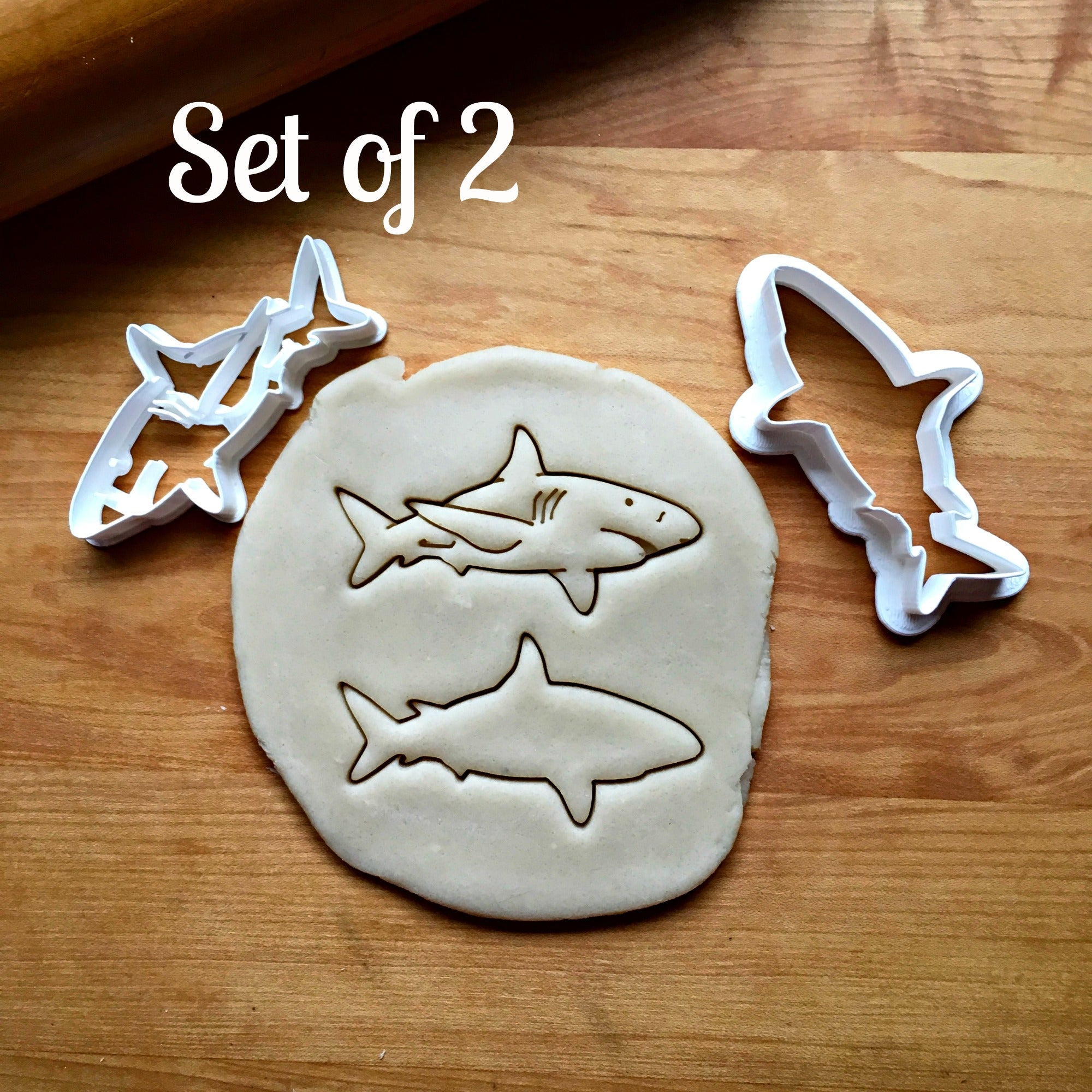 Set of 2 Great White Shark Cookie Cutters/Dishwasher Safe