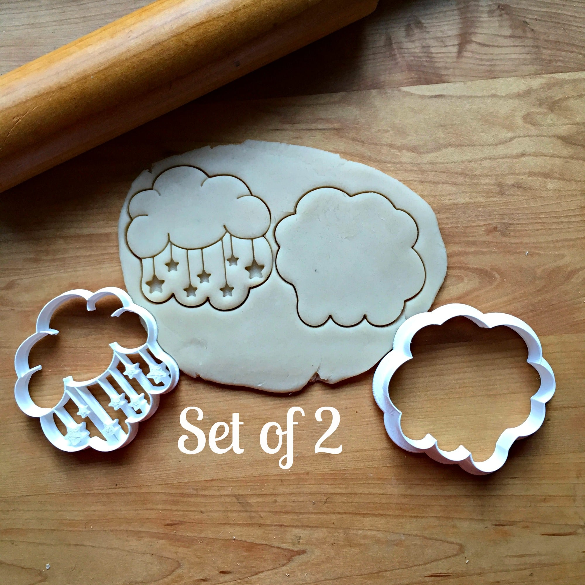 Set of 2  Cloud and Stars Cookie Cutters/Dishwasher Safe
