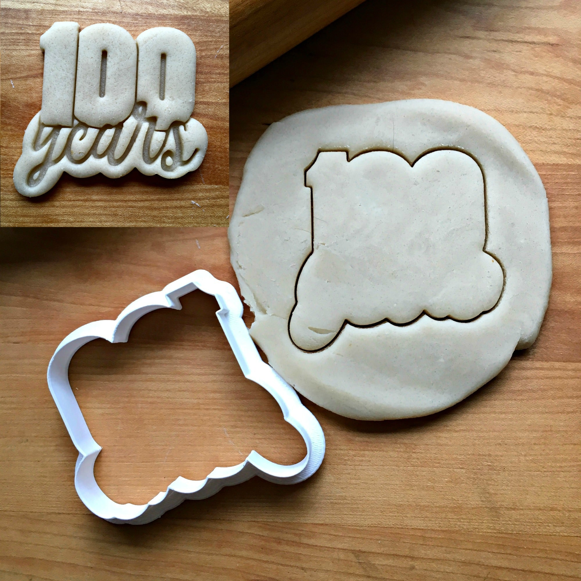 Lettered Number 100 Years Cookie Cutter/Dishwasher Safe