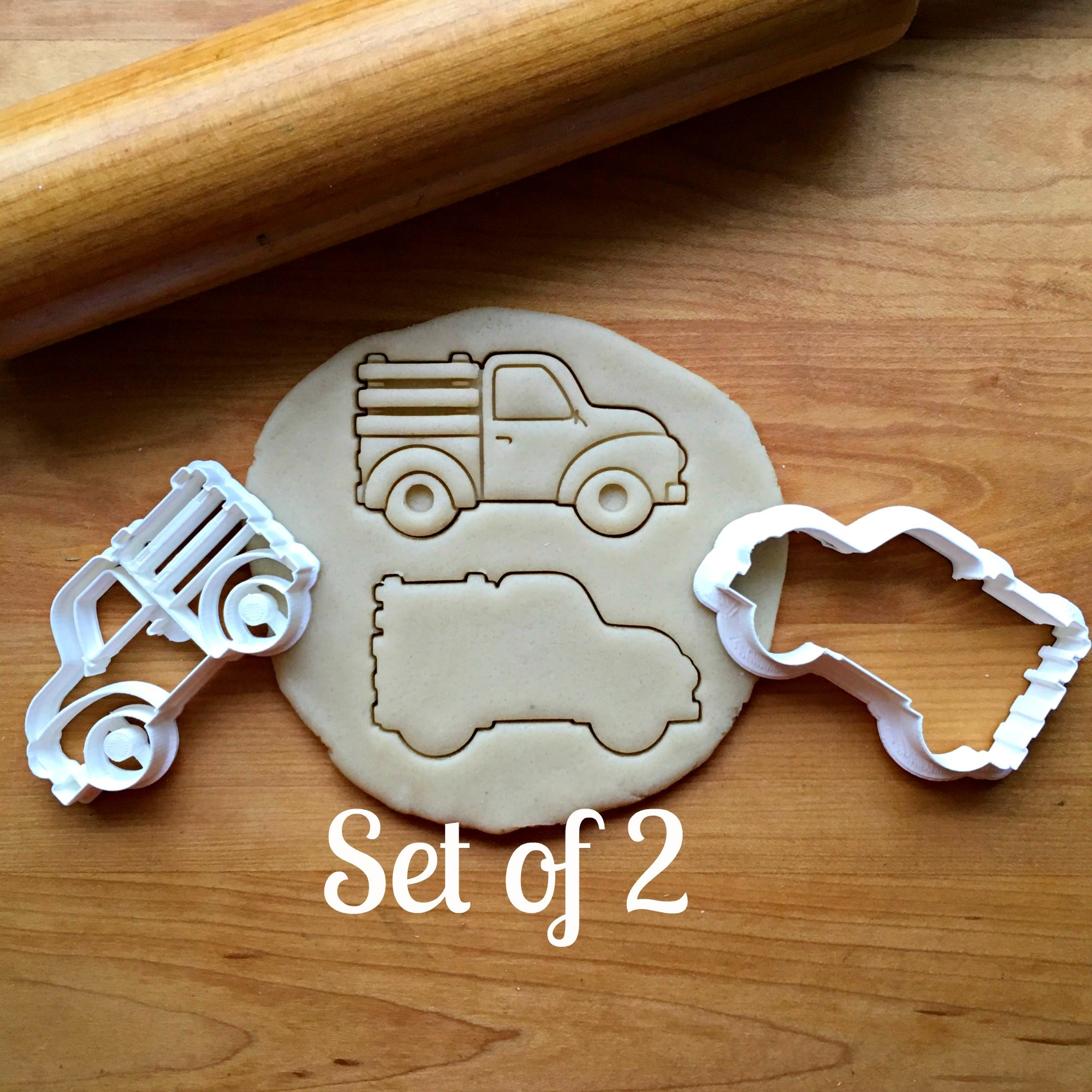 Set of 2 Pickup Truck with Side Panels Cookie Cutters/Dishwasher Safe