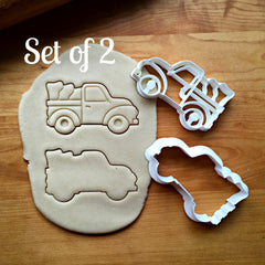 Set of 2 Pickup Truck with Tree Cookie Cutters/Dishwasher Safe