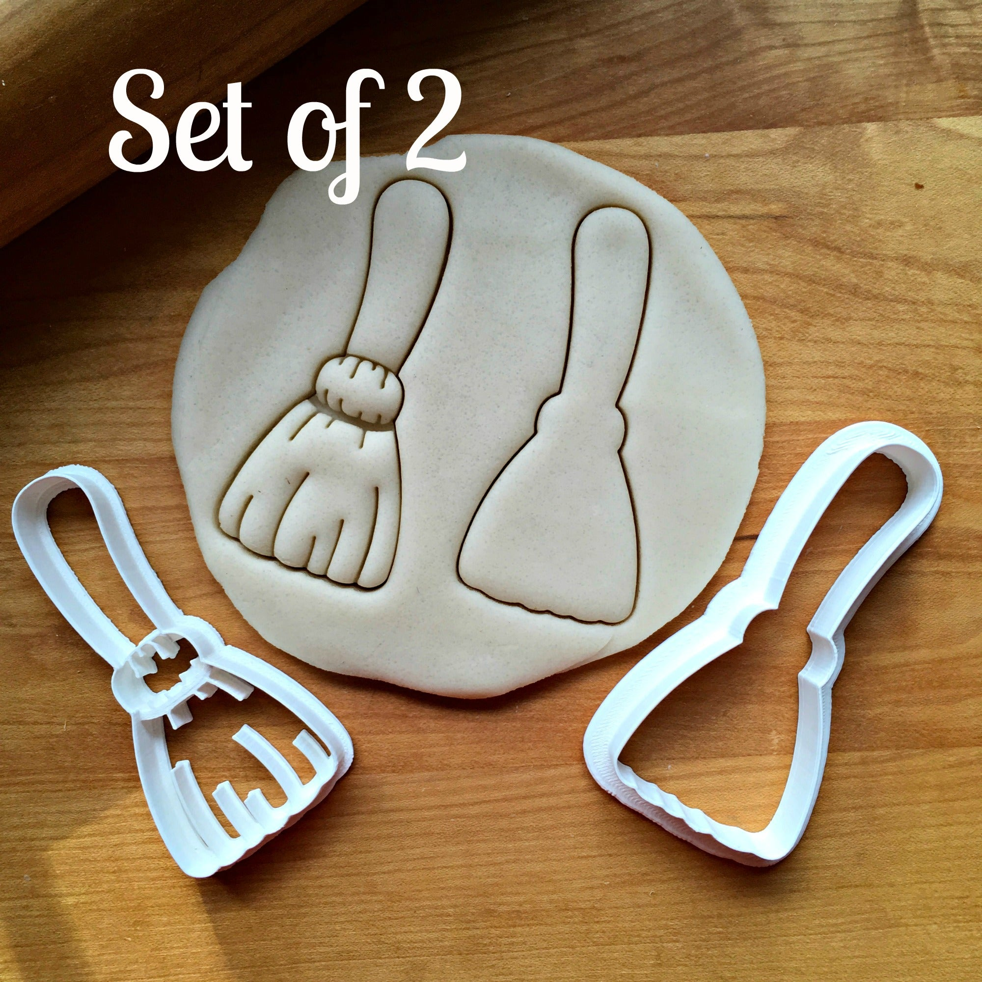 Set of 2 Broom Cookie Cutters/Dishwasher Safe