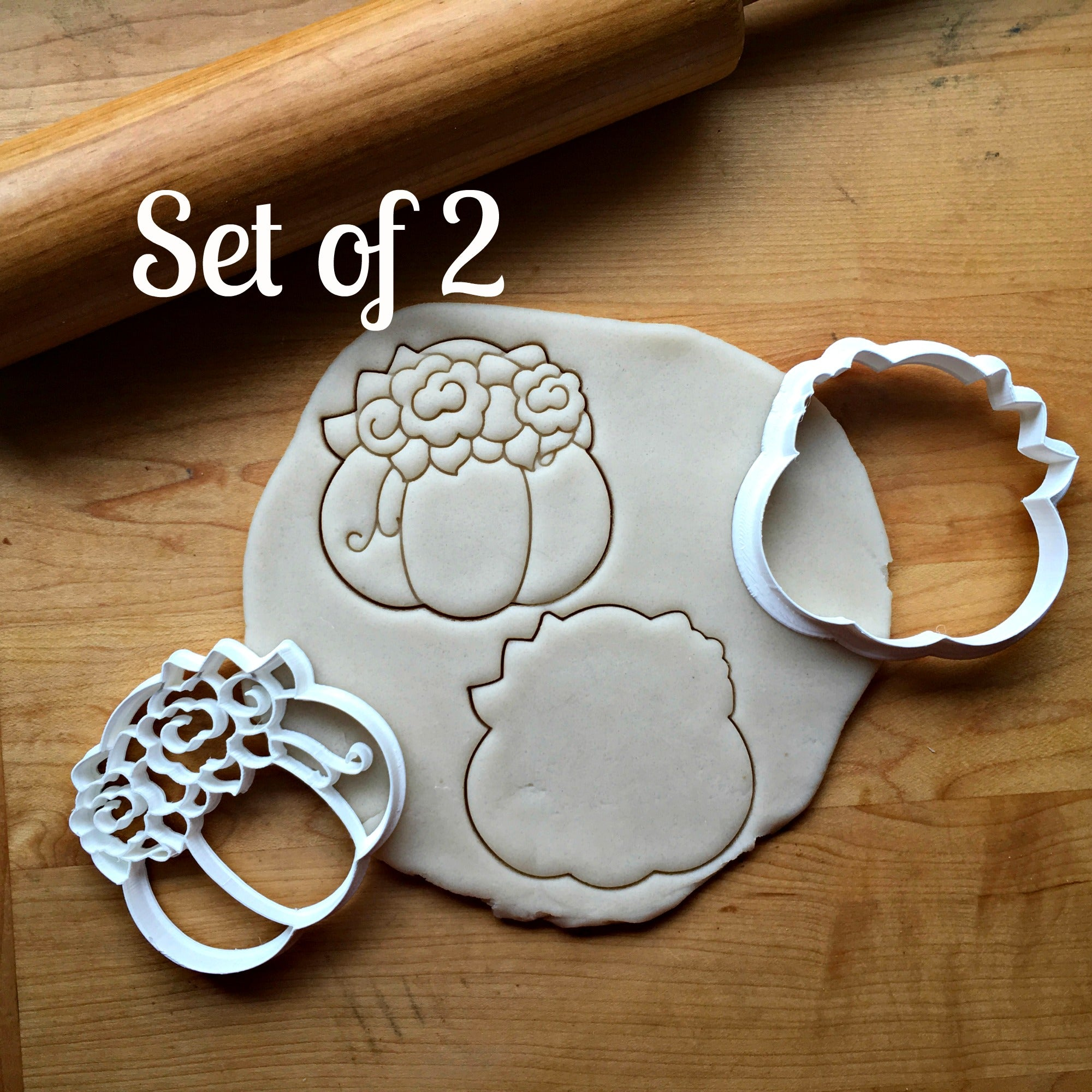 Set of 2 Pumpkin with Flowers Cookie Cutters/Dishwasher Safe
