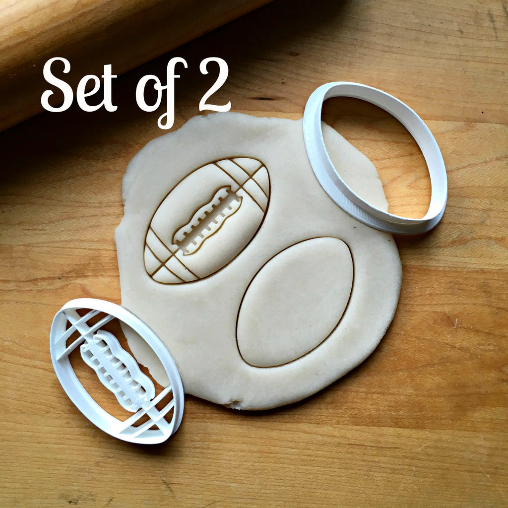 Set of 2 Football Cookie Cuttesr/Dishwasher Safe