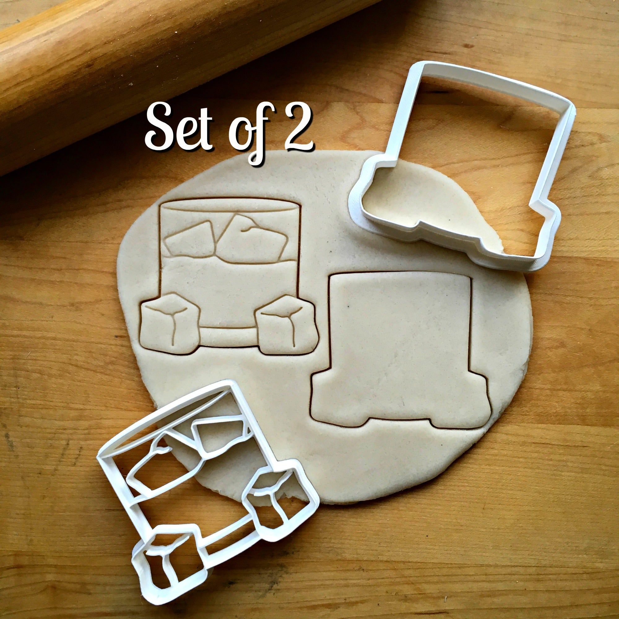 Set of 2 Whiskey Glass Cookie Cutters/Dishwasher Safe