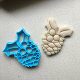 Pine Cone with Holly Cookie Cutter/Dishwasher Safe