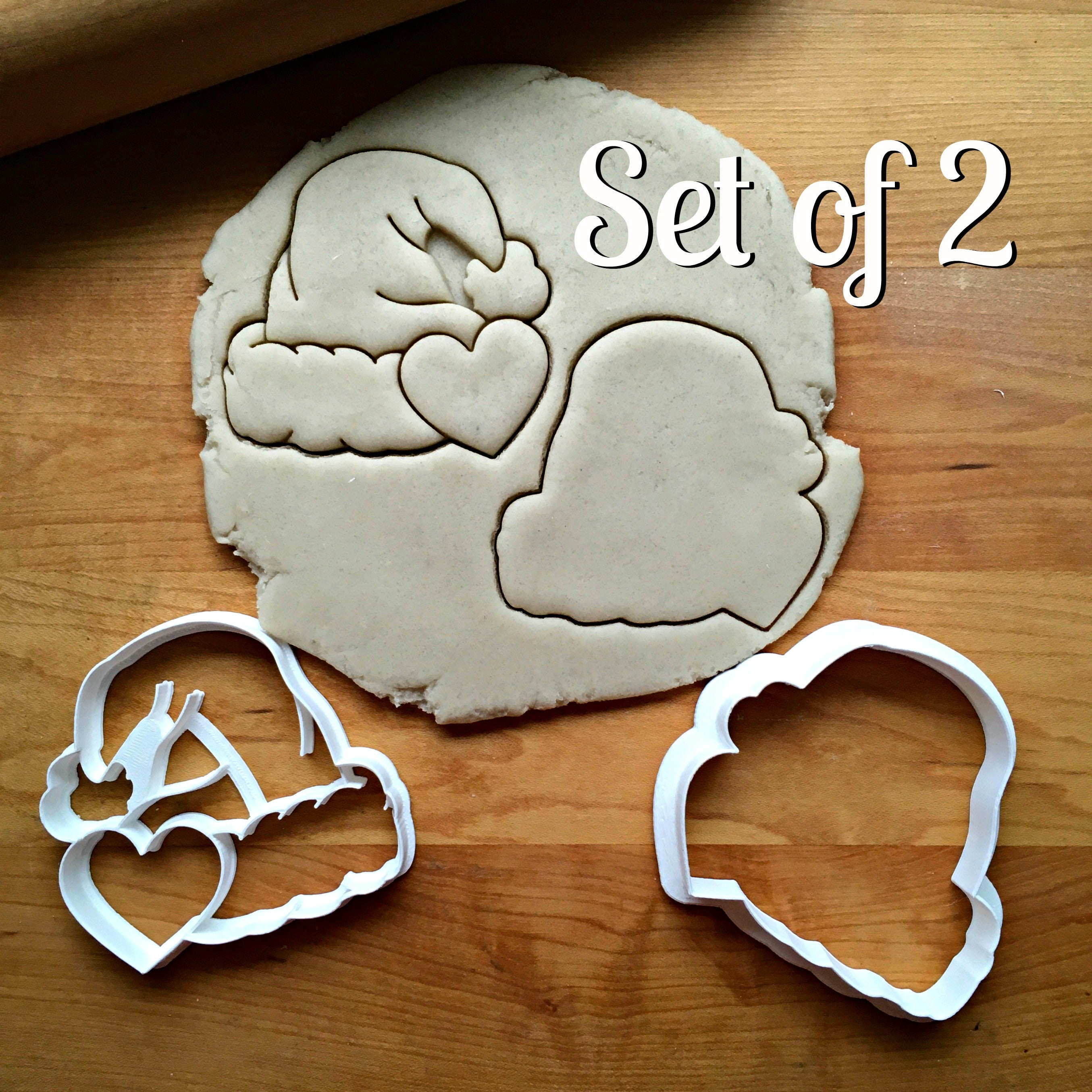 Set of 2 Santa Hat with Heart Cookie Cutters/Dishwasher Safe