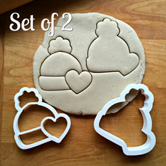 Set of 2 Winter Hat with Heart Cookie Cutters/Dishwasher Safe