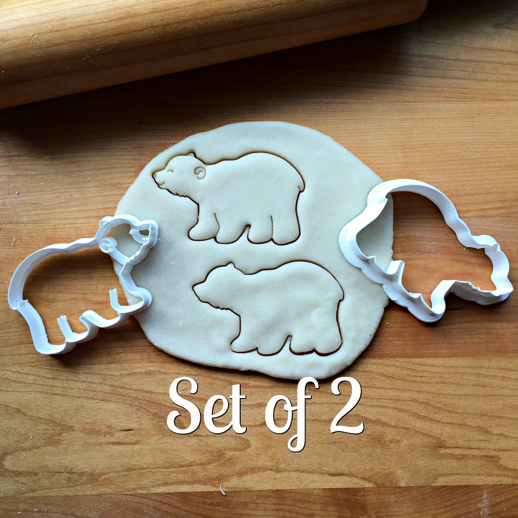 Set of 2 Polar Bear Cookie Cutters/Dishwasher Safe