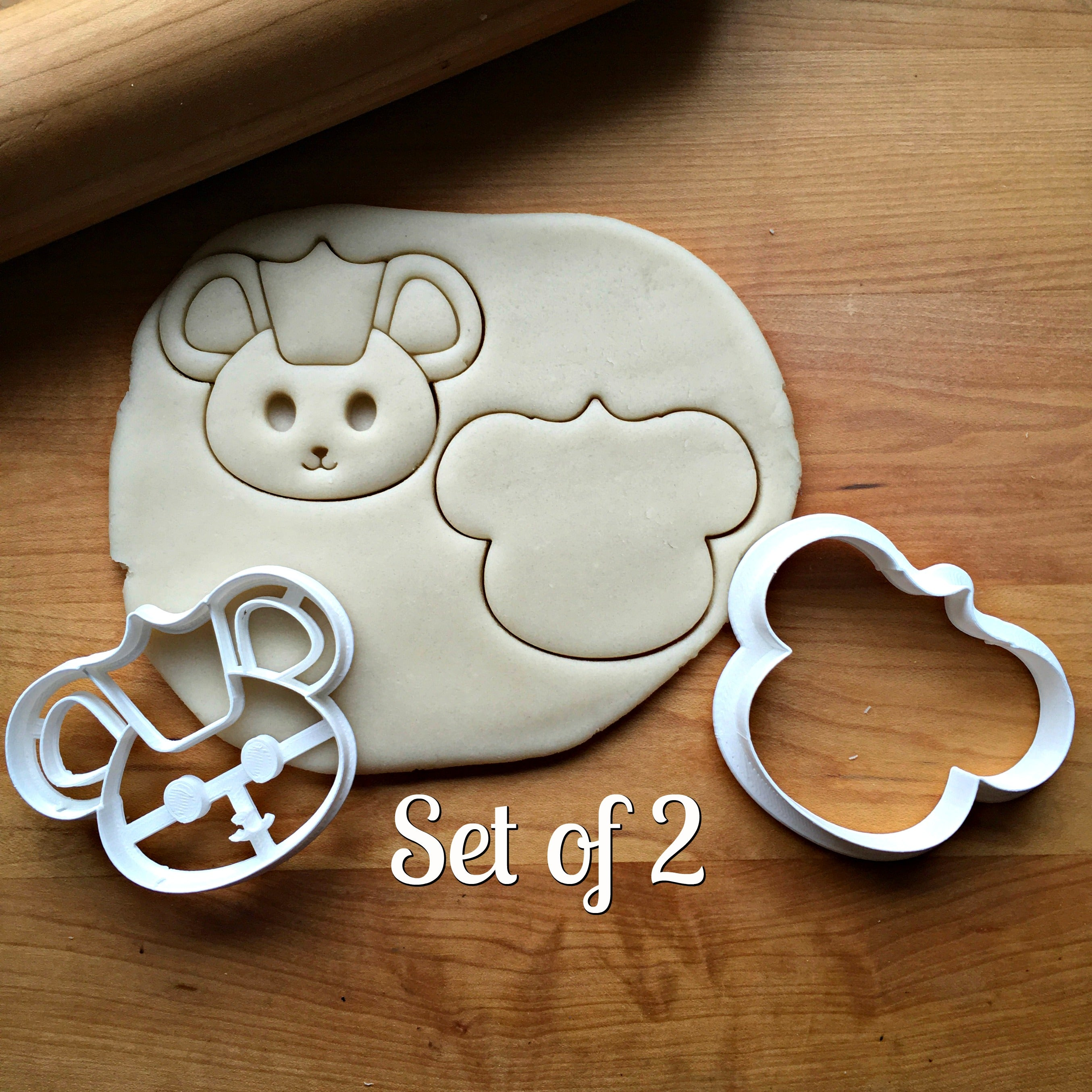 Set of 2 Cute Mouse King Cookie Cutters/Dishwasher Safe