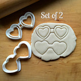 Set of 2 Heart Shaped Glasses Cookie Cutters/Dishwasher Safe