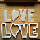 Set of 4 LOVE Cookie Cutters/Dishwasher Safe
