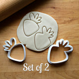 Set of 2 Carrot/Strawberry Cookie Cutters/Dishwasher Safe