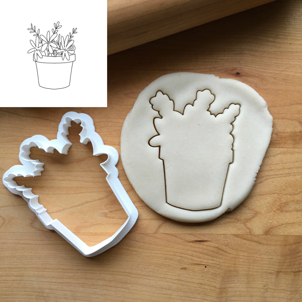 Flower Pot Cookie Cutter/Dishwasher Safe/Template Included