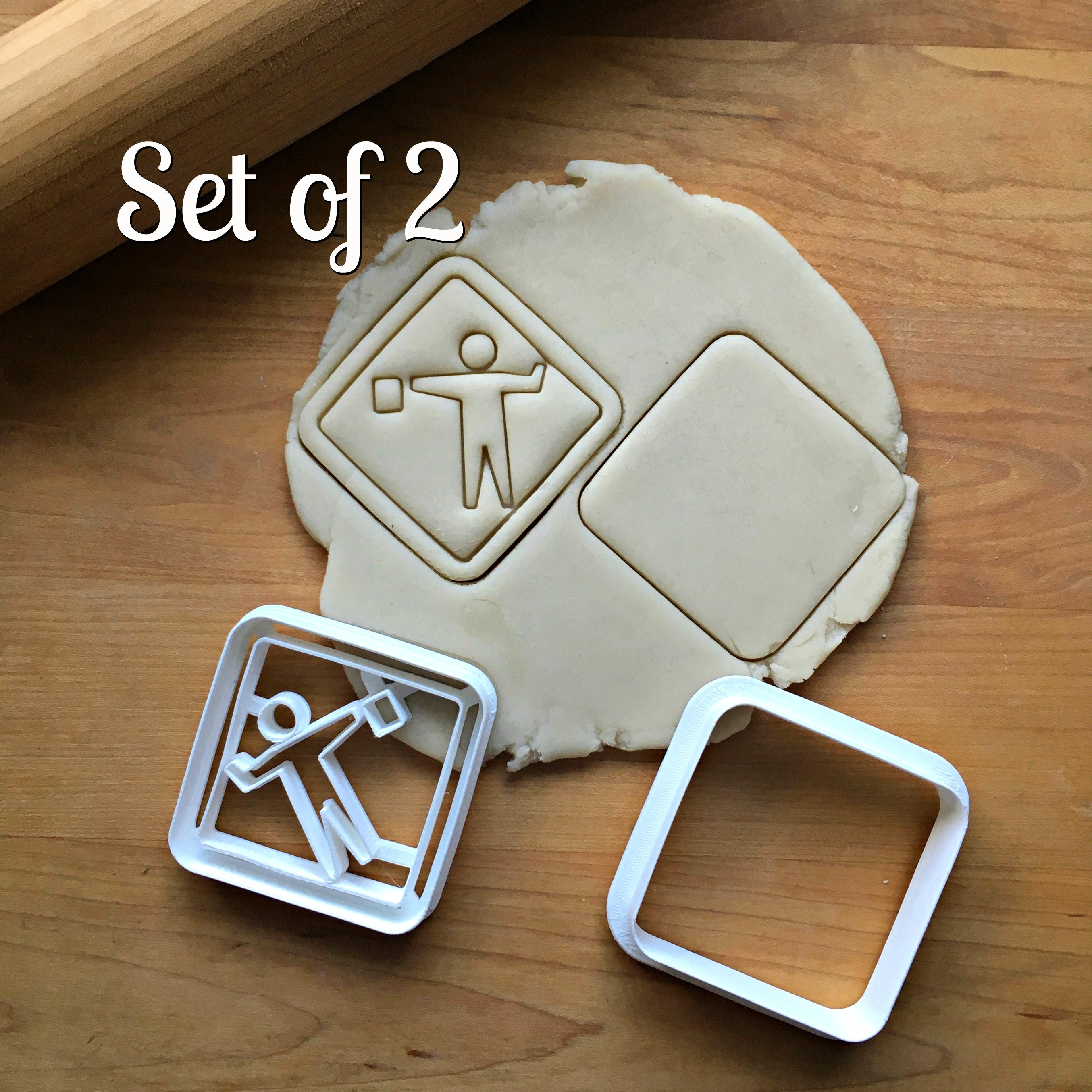 Set of 2 Construction Sign Cookie Cutter/sDishwasher Safe