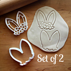 Set of 2 Bunny Ears with Flowers Cookie Cutters/Dishwasher Safe
