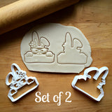 Set of 2 Girl Bunny Plaque Cookie Cutters/Dishwasher Safe