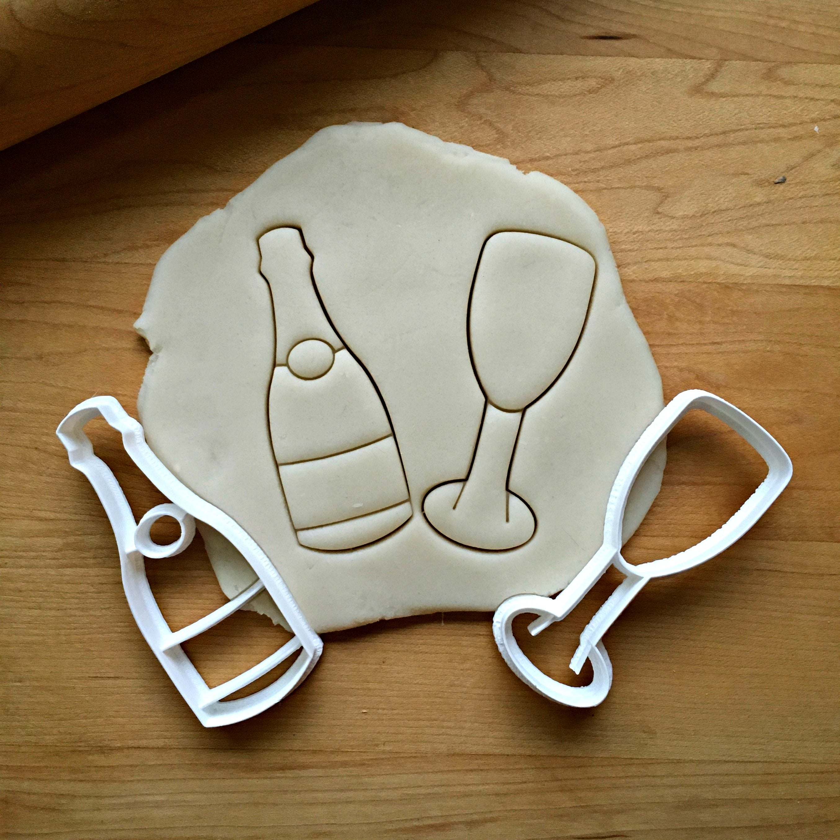 Champagne Glass and Bottle Cookie Cutter Set/Dishwasher Safe