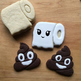 Set of 2 Poop Emoji and Toilet Paper Roll Cookie Cutters/Dishwasher Safe
