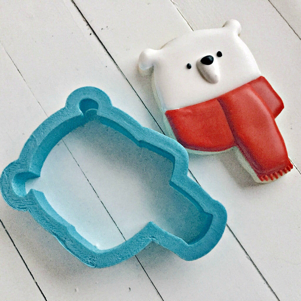 Cute Bear with Scarf Cookie Cutter/Dishwasher Safe/Template Included