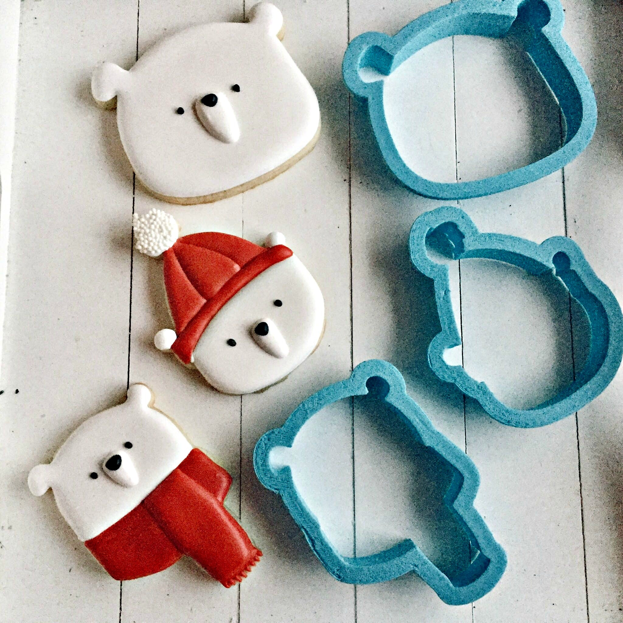 Set of 3 Cute Bear Cookie Cutters/Dishwasher Safe/Template Included